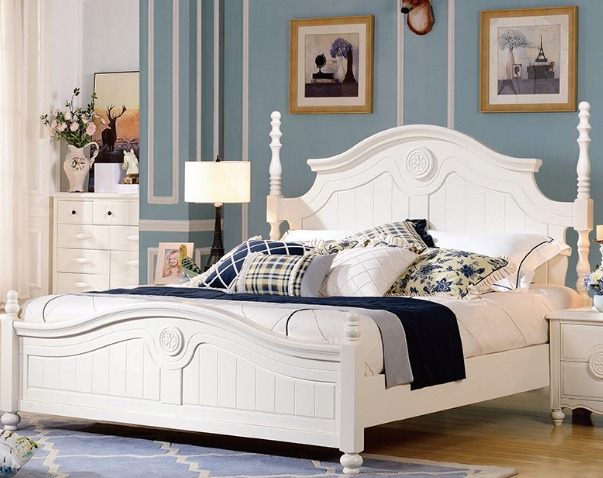Antique white queen bed