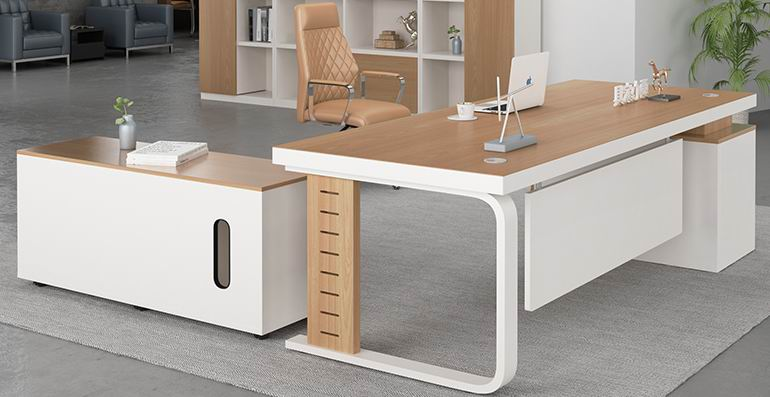 Boss office desk with side cabinet