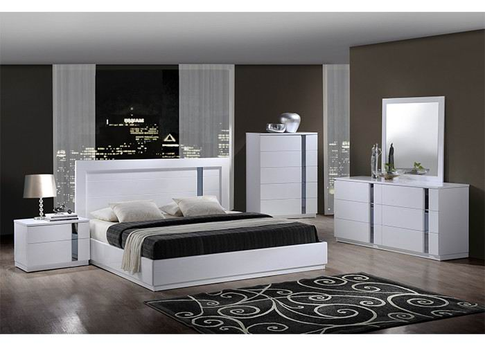 King/Queen Size High Gloss Bedroom Collection with white color