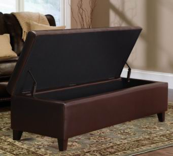 Brown Bonded Leather/PU Storage Ottoman