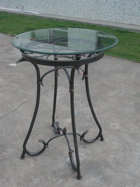 Metal Bar Table with tempered glass in black powder coating