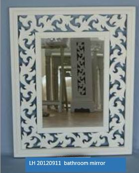 Antique white finish Bathroom Mirror with carved frame