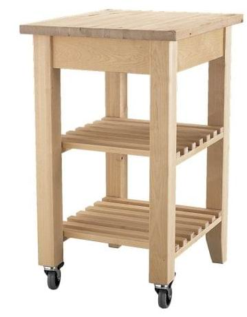 Solid Birch wood kitchen cart for Barbecue Restaurant