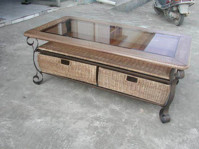 Metal+wood Coffee Table
