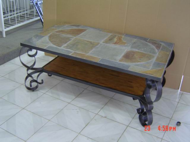 Metal Coffee Table with Slate top
