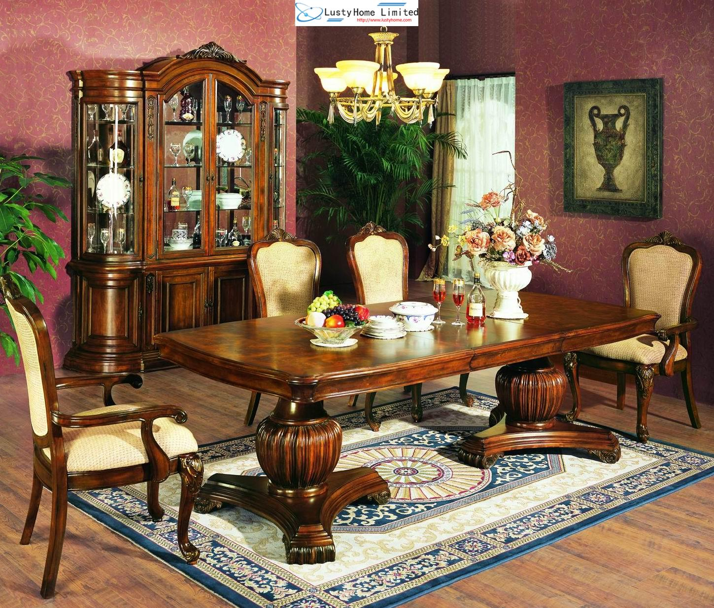 Double American style pedestal dining table collection