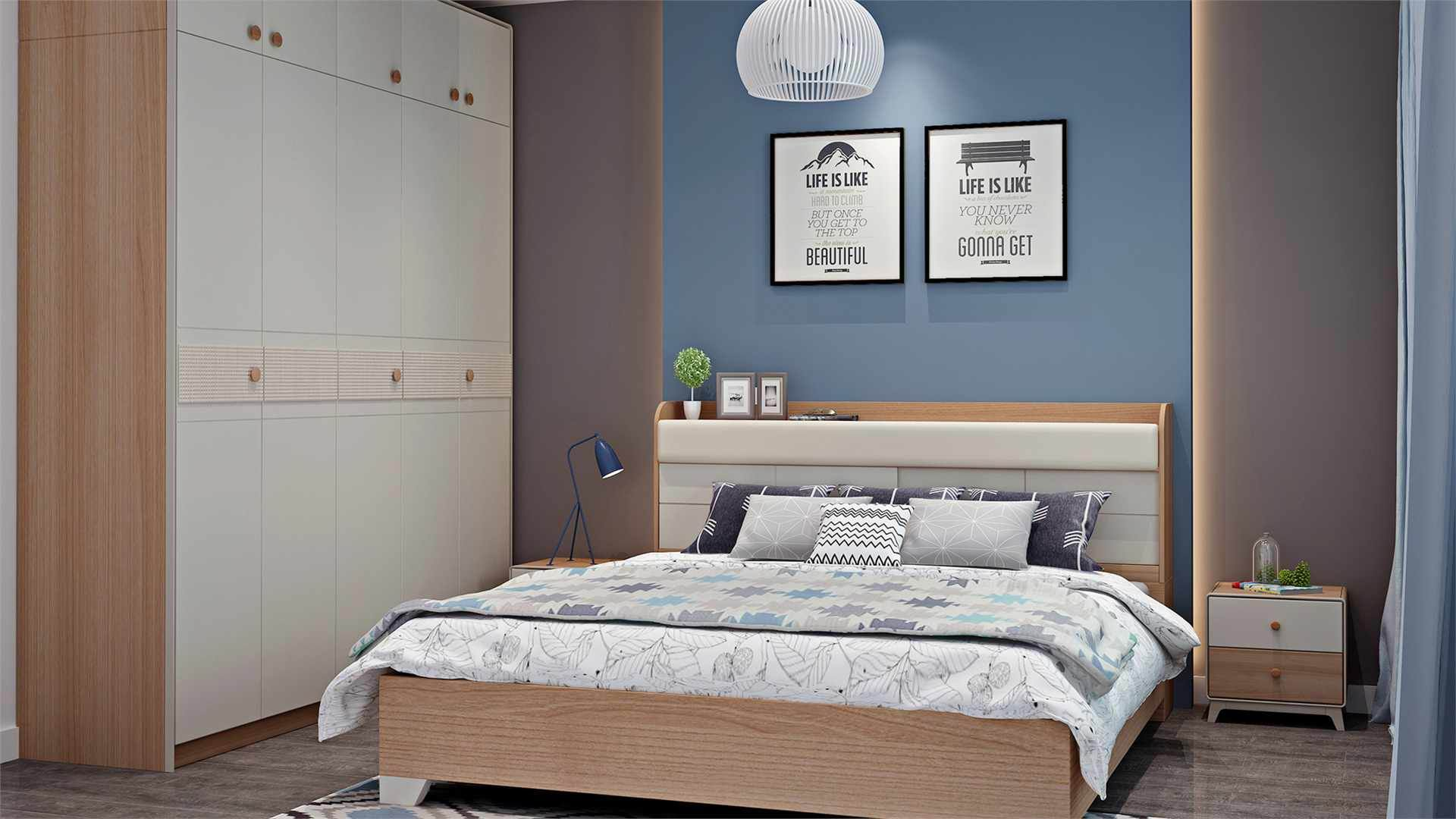 MDF Veneered or Particle board with melamine Oak papered double bed