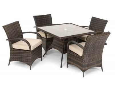 Dining Set with 4 Arm Chairs+1 Square Table