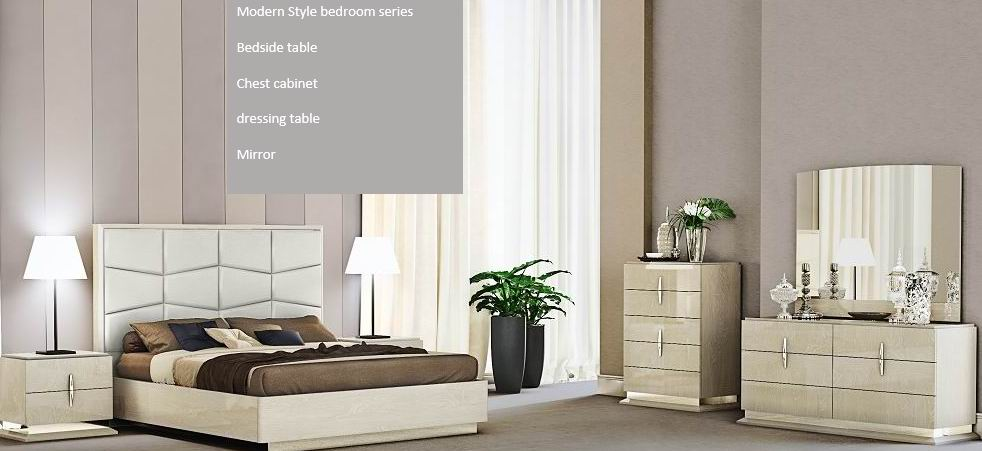 Melamine Paper Modern Bedroom in leather HB