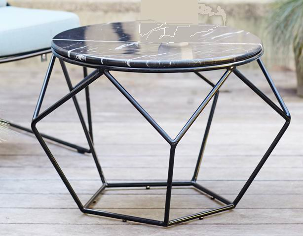 Modern living room round metal tea table with marble top