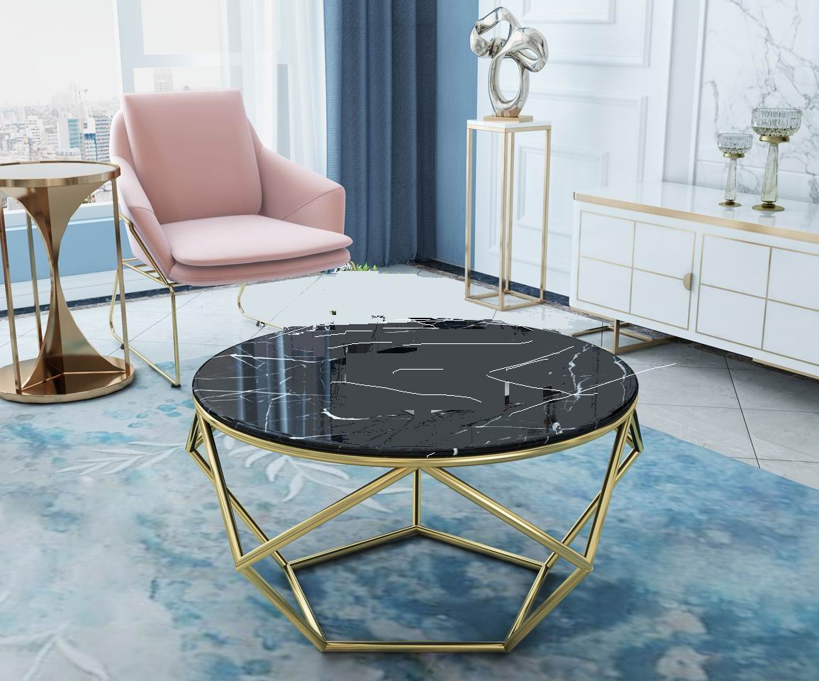 Modern living room round metal tea table with marble top | Lusty ...