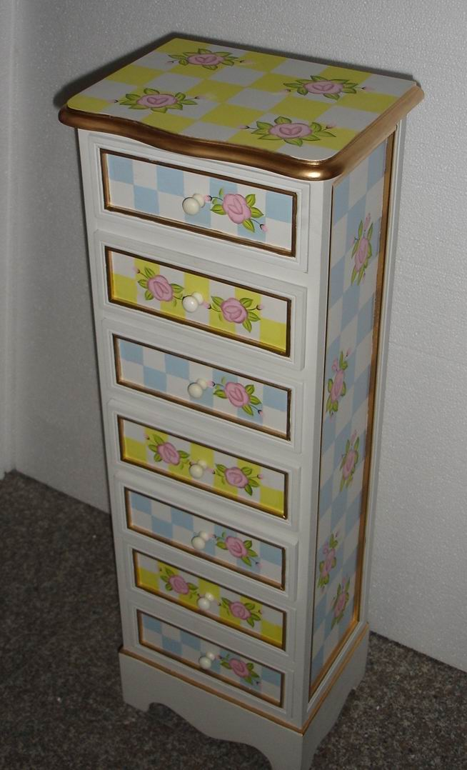 High-End CD cabinet hand-painted with golden top edges