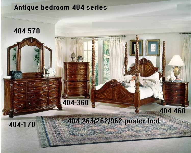 Mahogany Poster bed bedroom 404 series carved