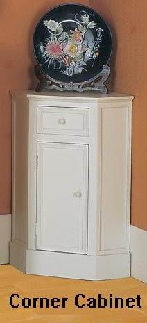Fully white finish covered pentagon Corner Cabinet with one drawer and one door