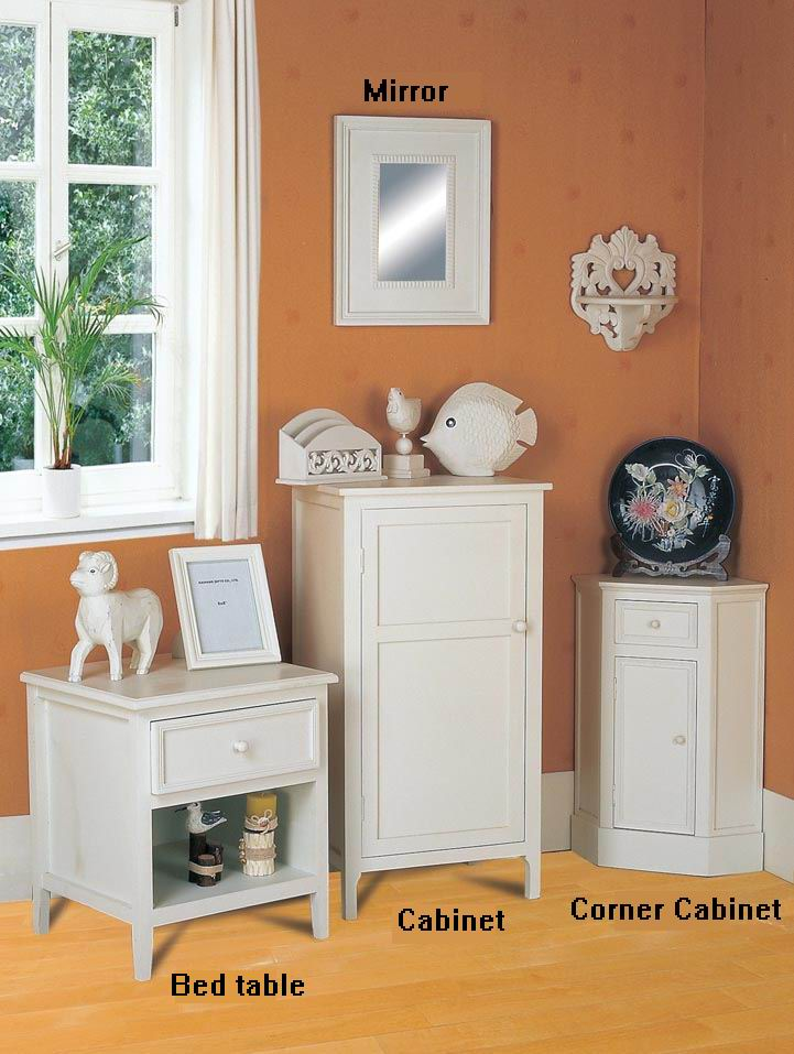 Fully whited covering finish dressing cabinet combinations