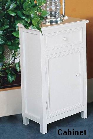 Fully whited covering finish bathroom cabinet with one drawer & one door