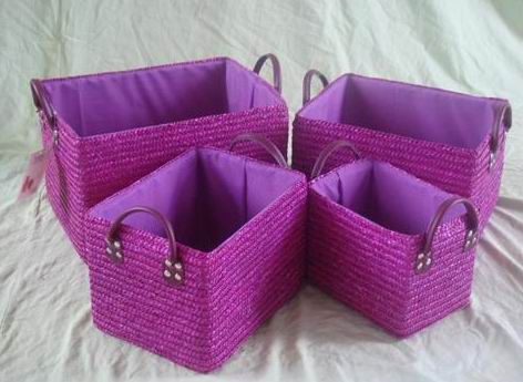 Straw Maize Basket 4/S in Purple finish