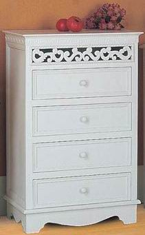Antique white finishing  cabinet with carved Top upper Apron