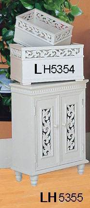 Antique white finish Cabinet with 2 carved doors