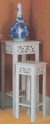 Antique white finish flower stand carved for indoor or outdoor use
