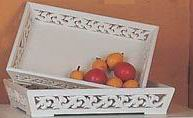Antique white finish tray 2/S with carved frames