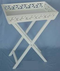 Antique white finish stand tray with carved tray top frame