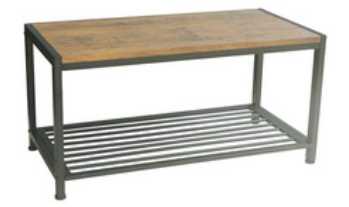 Metal & wood bench w/bottom shelf for shoes