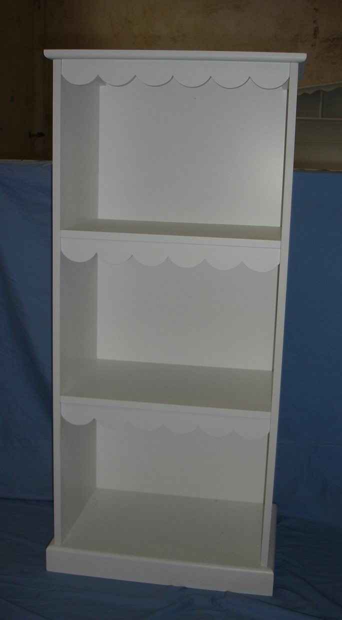 Kids bookcase with two shelves fully covering in white paint finish