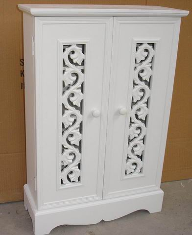 Fully covering in white finishing  cabinet with carved 2 doors