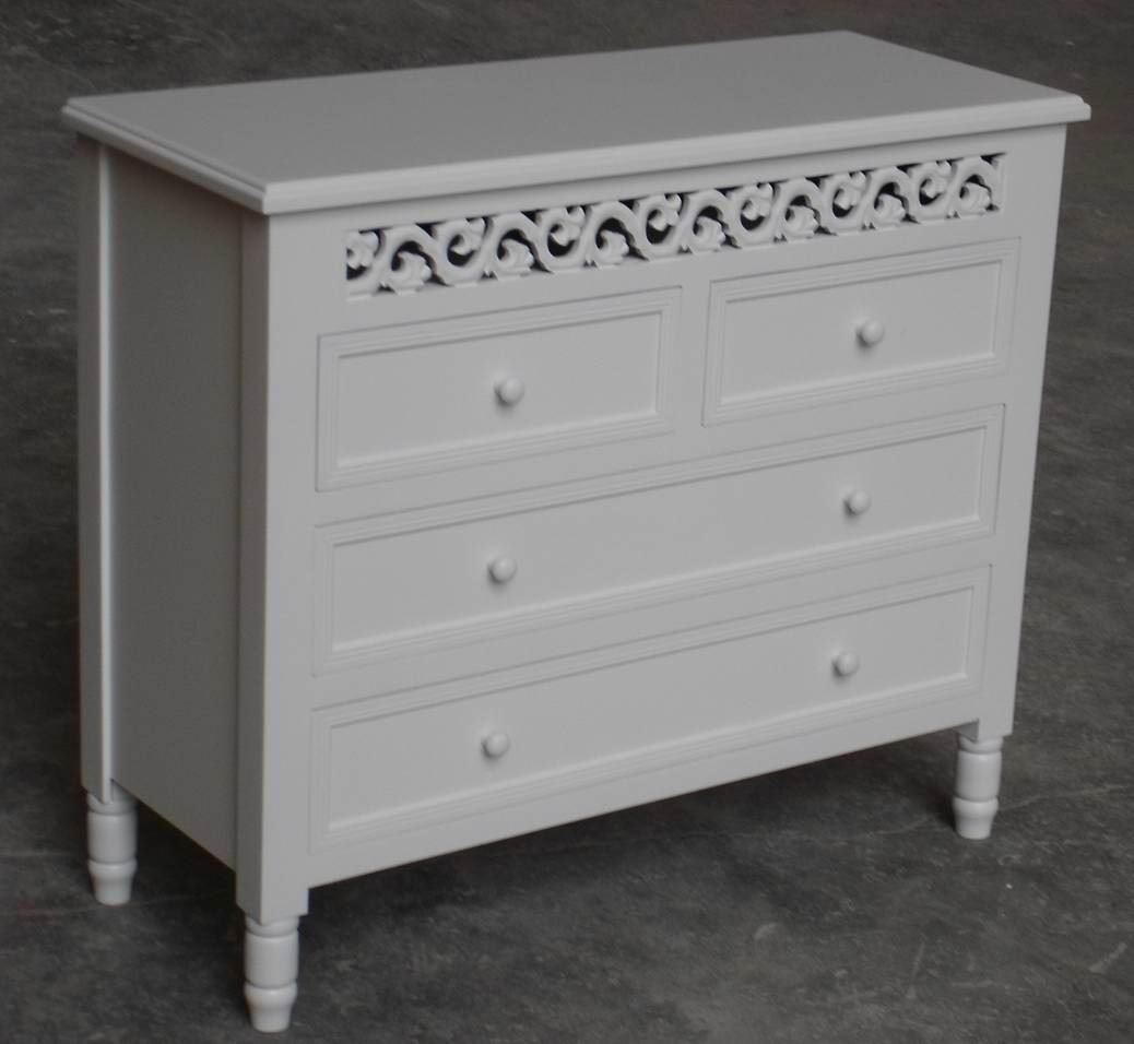 Carved dressing Table with 4 drawers fully covering in white paint finishing