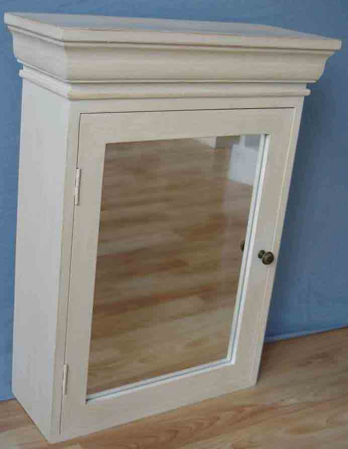 Wall cabinet with mirror door in antique white finishing