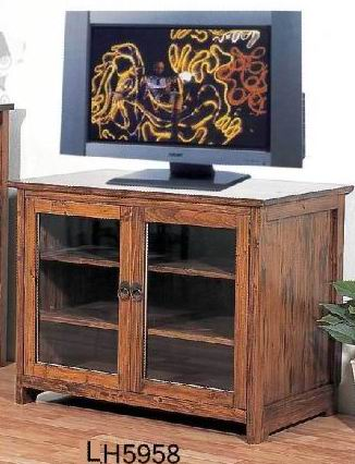 Solid Fir wood TV Cabinet with 2 glass doors and 2 shelves in Antique natural finish