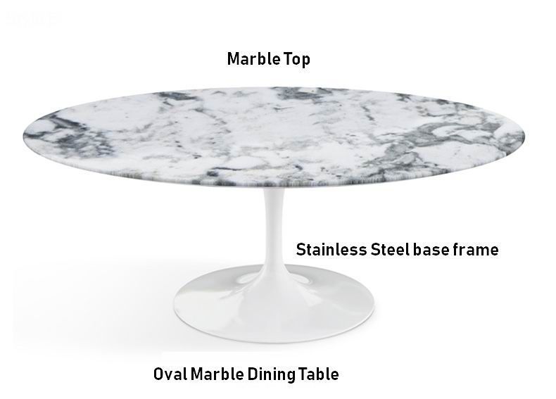 Nordic Oval Dining Table with Marble top and Stainless Steel Metal Base Frame