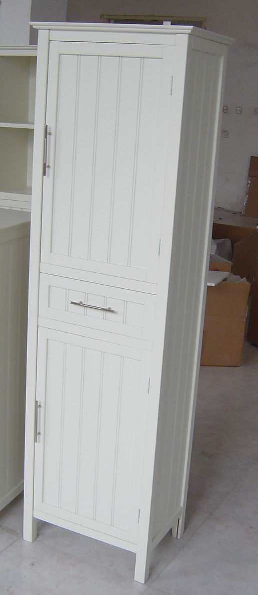 Tall Cabinet With 2 Grooved Doors And One Drawer With Fully Covering In  White Paint ...