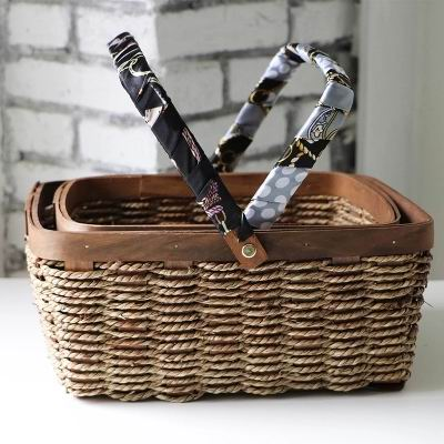 European storage basket, wood and grass weaving, silk towel hand