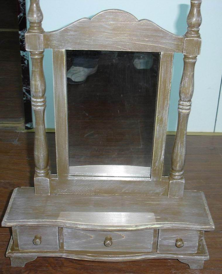 Solid Pine Dressing Mirror with makeup boxes in Antique dust Finishing