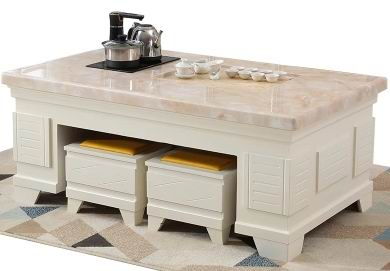 Multi-functional  solid wood Tea Table with marble top and a tea set