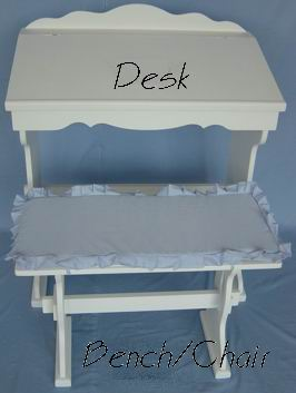 Antique white finish desk with bench combination