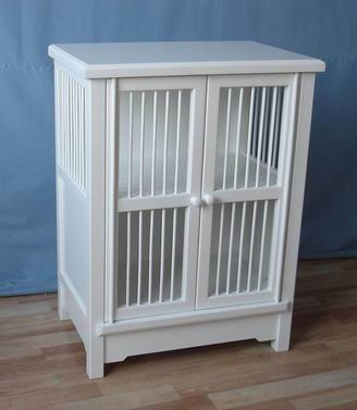 Antique white/Brown Cabinet with 2 Railings Doors