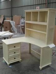 Antique White Office/Computer Desk with Bookshelf Combination