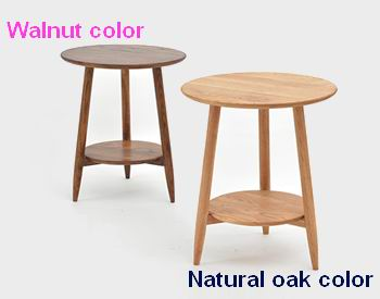 Nordic Style Round Coffee Table with Bottom Shelf both walnut and natural oak finish