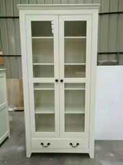 Antique White Finish Dining Room Cupboard with 2 Glass Doors and one Drawer in Nordic Style