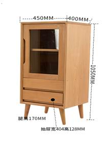 Solid beech wood short side cabinet of TV cabinet combination in natural painting