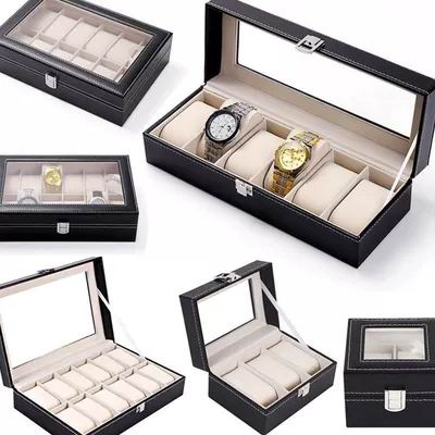 Faux Leather Watch Box ,Jewelry Display Storage Holder, Case Grids