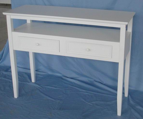 Antique White Finishing Hall Table with one shelf and two drawers