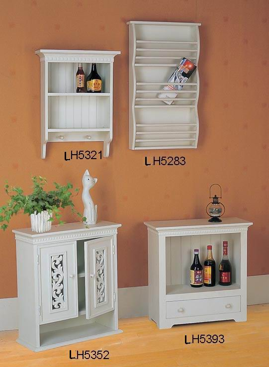 Wall shelf with one drawer in antique white finish