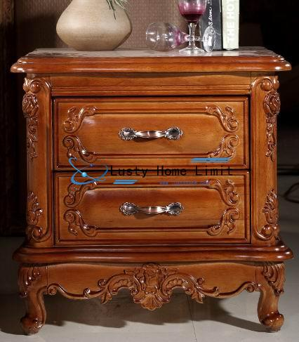 Antique & carved oak night stand with Europe and modern simple style
