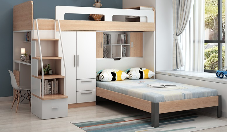 Multi-functional bunk bed in melamine particleboard
