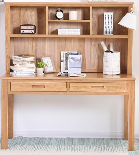 Simple & natural solid oak desk with bookself