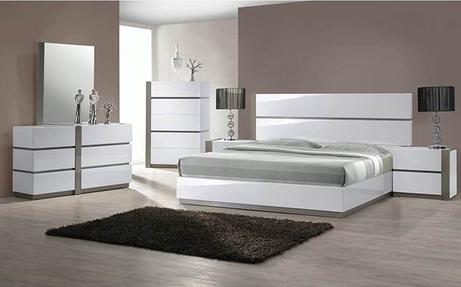 European High Gloss white King size bedroom collection